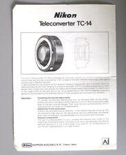Nikon Tc-14 Teleconverter Ai Instruction Manual English Original