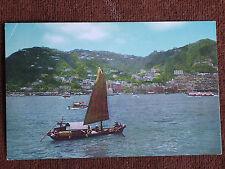 Hong Kong China/Crown Colony & Chinese Sampan/Japan Air Lines Chrome Postcard