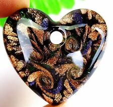 Beautiful 1Pcs Black and Gold Lampwork Glass Peach Heart Pendant Bead AT16910