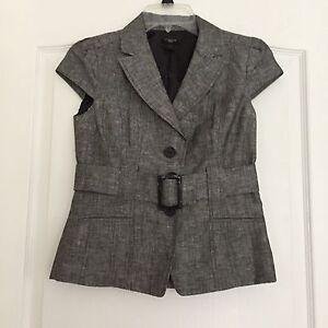 Ann Taylor Woman's Cap Sleeve Belted Blazer Jacket - Gray/Black - Petite 0