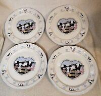 "4 Tienshan Stoneware Buttercup Holstein Cow 10 1/2"" Dinner Plates set hearts"