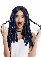 Peluca Mujer Carnaval Halloween negro largo azul Hebras Rizos