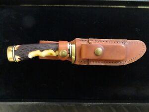 SCHRADE UNCLE HENRY 153UH SUPER-SHARP GOLDEN SPIKE STAG HUNTING SKINNER KNIFE
