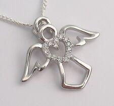 Schutzengel Engel Anhänger mit Herz Kinder Damen Schmuck Echt Silber Kette Baby