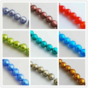 10mm 20Pcs Silver Foil Inside Lampwrok Glass Round Spacer Beads 7 Color Pick