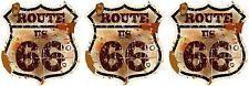 3 x Mini PREMIUM Autoaufkleber Route 66 USA Vintage Sticker Aufkleber Auto Bike