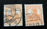 BM030 Deutsches Reich GERMANIA 71/2 Pf Mi-Nr.: 99a 99b gestempelt