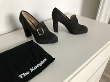 Mocassins à talon compensées 38 escarpins daim gris 8 sac The Kooples wedges 5