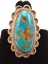 Large Artisan Crafted Vintage Oval Cabochon Turquoise and Silver Ring Size 12