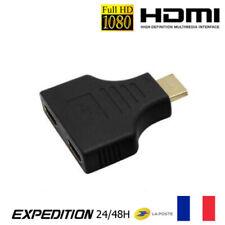 1 HDMI mâle vers 2 HDMI femelle Adaptateur répartiteur câble Splitter Y