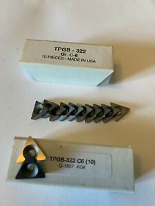 NEW 10 PCS. USA ,TPGB 322 ,C 6  GRADE  INDEXABLE CARBIDE INSERTS