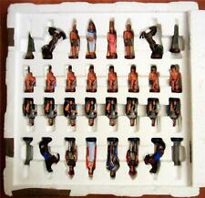 THE EGYPTIANS VS THE ROMANS HAND PAINTED CHESS SET (BRAND NEW)