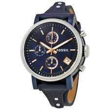 Fossil Original Women's Boyfriend Sport Blue Leather Watch 38mm Chrono ES4113