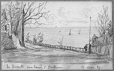 LÉON BERVILLE DESSIN ORIGINAL 1887 HONFLEUR Descente aux bains Calvados Nézière