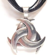 CELTIC KNOT_Black Ribbon Necklace_Irish Triquetra Trinity St Patrick Silver_359N
