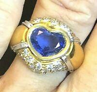 18k Gold Designer 2.43ct Natural Heart Sapphire .5ct VS Diamond Ring 12.7g