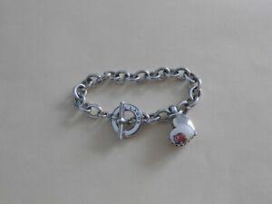 "LAGOS Sterling Silver Heart Charm Bracelet, 7.5""  EUC"