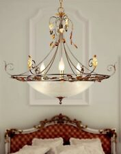 Lampadario classico 6 luci in metallo argento antico e vetro coll. Dese 4020-6S