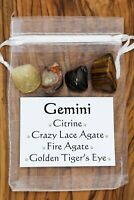 Gemini Crystal Gift Set Citrine Crazy Lace Agate Fire Agate Golden Tiger's Eye