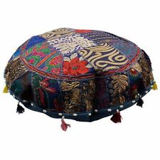 "Patchwork Round 32"" Moroccan Bohemian Floor Pouf Cushion Cover Handmade Pouf"