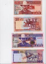 Specimen Set, Namibia, 20;200 Dollars (1996), P-5s-10s, UNC > Signature 2