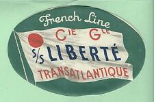 1950's French Line S/S Liberte Transatlantique Luggage Stickers & Tag Tourist Cl