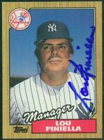 Original Autograph of Lou Piniella of the NY Yankees on a 1987 Topps Card