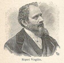 A7140 Virgilio Ripari - Stampa Antica del 1930 - Xilografia