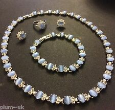 SET Blue moonstone WHITE GOLD GF matching necklace bracelet ring earrings PlumUK