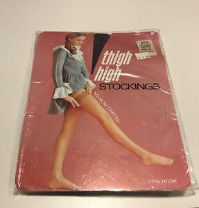 Vintage Thigh High Nylon Stockings Westvaco Size B Fits 10-11 Coffee Design 116