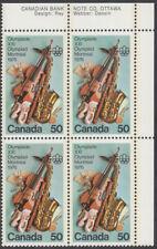 Canada - #686 Olympic Arts & Culture Plate Block - MNH