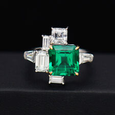 Antique 3.ct Asscher Cut AAA Lab Created Colombian Emerald Wedding Ring 14k Gold