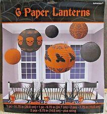 6 Paper Lanterns Skeleton Black Crows Solid Orange & Black Halloween New Amscan