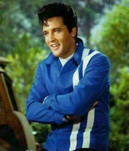 MENS VINTAGE RED & BLUE ELVIS PRESLEY SPEEDWAY WITH STYLISH WHITE STRIPS COTTON