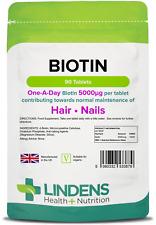 Lindens Biotin 5mg (5000mcg) Hair Skin Nails 90 tablets, 1-a-Day, UK Manufacture