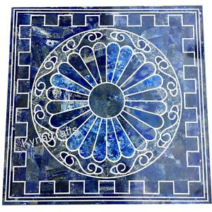 Blue Marble Coffee Table Top Lapis Lazuli Stone Inlaid Work Center Table 20 Inch