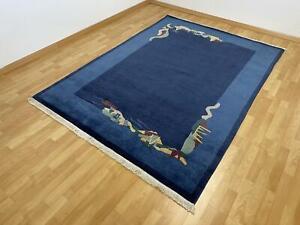 Moderner Tibet Teppich Bordüre Blau Indo Nepal handgeknüpft Wolle 250x350 cm