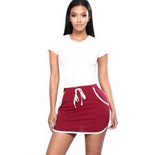Women High Waist Ladies Stretch Pencil Bodycon Sports Plain Short Mini Skirt MAD
