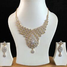 CLEAR GOLD COSTUME JEWELLERY NECKLACE EARRINGS AMERICAN DIAMOND SET BRIDAL NEW 9