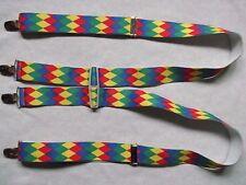 Braces Suspenders Mens Vintage CLIP ON HARLEQUIN RED GREEN BLUE