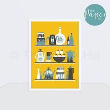 Kitchen | Art Print Yellow A3 | Scandinavian Retro Contemporary