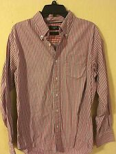 Men's Dockers, Size M, Long Sleeve, Button Up, Red, Gray Striped Shirt