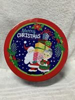 Celebrate It Christmas Holiday Tin Container Cookie Santa & Mrs Claus 8X3.25 New