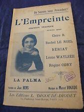 Partition L'empreinte La Palma Vogade 1922 Music Sheet