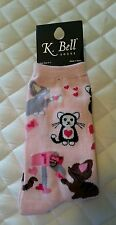 K bell novelty fashion crew socks, Pink, Kittens cats love letters mailbox 9-11