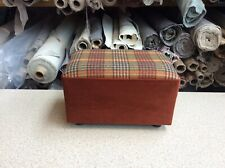 footstool / pouffe upholstered in 100% wool plaid