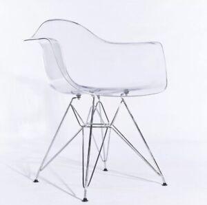 Transparent Chic Ghost Dining Office Tub Arm Chair Chrome Legs Modern Design.