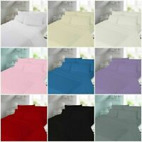 100% Brushed Cotton Flannelette 4PC Sheets Set Fitted Flat Sheets Pillowcases