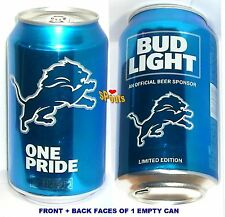 2017 DETROIT LIONS BUD LIGHT NFL KICKOFF BEER CAN FOOTBALL SPORTS PRIDE MAN CAVE