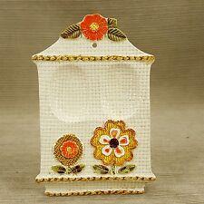 """Ceramic Spoon Rest Dual 7.5"""" Holder Orange Brown Green Weave Flowers Vintage"""